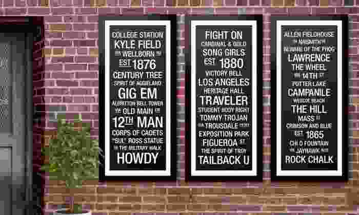 """Framed College Town Bus Roll Print: $79.99 for a 50""""x17"""" College Town Bus Roll Print ($289.95 List Price). 30 Schools Available. Free Shipping and Returns."""