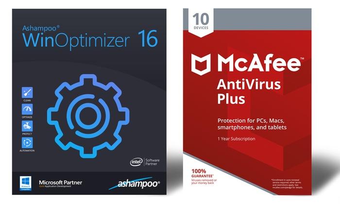 McAfee AntiVirus Plus 2019 and Ashampoo WinOptimizer 16
