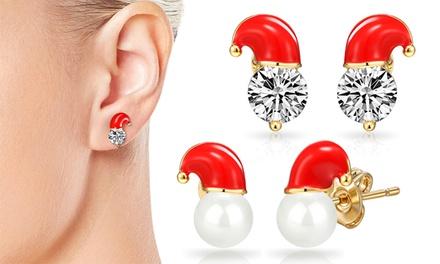 Vergulde kerstoorbellen van Philip Jones met Swarovski®kristallen of parels