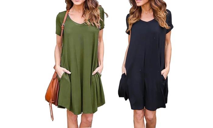 Casual Plain Summer Dress | Groupon Goods