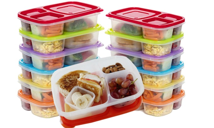 microwave and freezer safe bento lunch box set 24 or 12 piece groupon. Black Bedroom Furniture Sets. Home Design Ideas