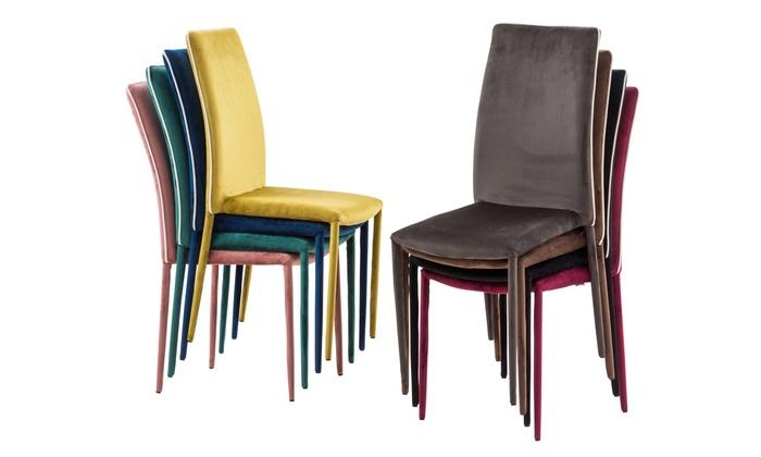Fino a 71% su Set di 4 sedie rivestite in velluto | Groupon
