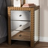 Azura Rustic Industrial Style 3-Drawer Mirrored Nightstand