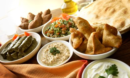image for Traditional Lebanese Meze and Grill Platter to Share with Glass of Wine for Up to Four at Tarboush (Up to 63% Off)