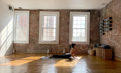 image for Five-Pass or One-Month Unlimited Yoga <strong>Classes</strong> at Yoga 203 (Up to 71% Off)