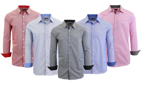 Men's Long-Sleeve Checkered or Pinstriped Slim Fit Dress Shirt