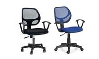 כיסא גב רשת לתלמיד עם מנגנון הגבהה, משענת קפיצית וידיות תומכות לישיבה ממושכת ונוחה