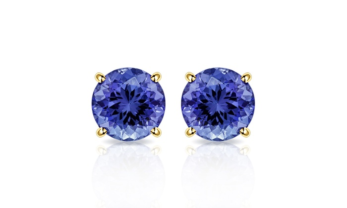 2 00 Ctw Tanzanite Stud Earrings In 10k Yellow Gold By Muiblu Gems