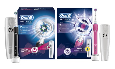OralB Pro 2500 or 3D White Electric Rechargeable Toothbrush with Optional Plug