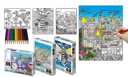 $19 for Three Boxes of 500-Piece Jigsaw Puzzles with Colouring Pencils