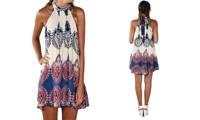 016479ea8aac Halterneck Boho Summer Dress | Groupon