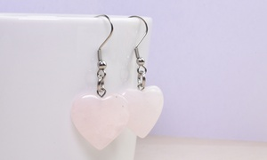 Natural Stone Hook Earrings in Stainless Steel by Pink Box
