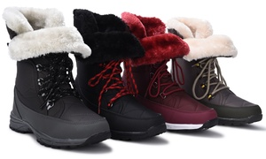 Sociology Women's Faux-Fur Cuff Weather Boots | Groupon Exclusive