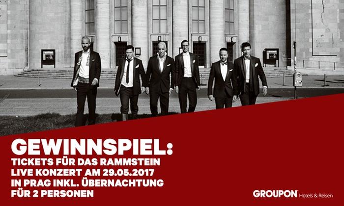 Groupon International Travel GmbH - Merchandising (DE): Gewinnspielteilnahme: 2 Tickets für das Live Konzert von Rammstein am 29.05.2017 in Prag inkl. Übernachtung im 4* Hotel