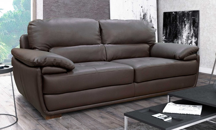 San Remo Bonded Leather Sofas Groupon Goods - San-remo-contemporary-leather-sofa