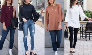 Reflection Women's Boatneck Flutter Sleeve Top. Plus Sizes Available.
