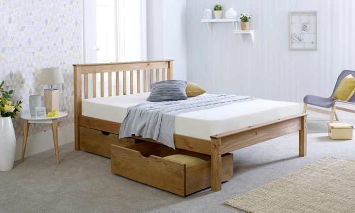 Olivia Solid Wood Bed with Optional Drawers