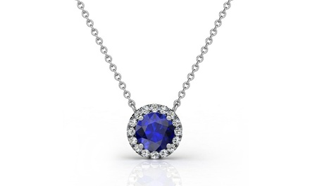 1.00 CTTW Genuine Diamond and Sapphire Halo Pendant