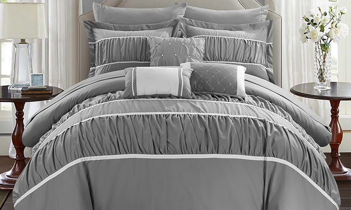 groupon bedroom in a bag. penelope pleated and ruffled bed-in-a-bag comforter set (10- groupon bedroom in a bag