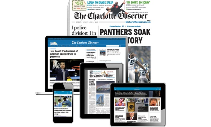 """The Charlotte Observer: 26-Week Sunday or Seven-Day Print Subscription with Digital Access to """"The Charlotte Observer"""" (Up to 73% Off)"""