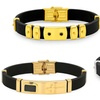 Men's Rubber Bracelets with Stainless Steel Accents