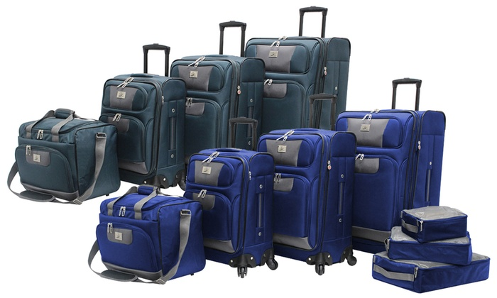 Verdi Polaris Expandable Spinner Luggage Set W Packing Cubes 7 Pc