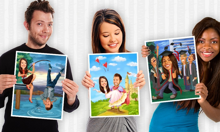 Personalized Caricature Prints Featuring One or Two People from myDaVinci (Up to 53% Off). Six Options Available.