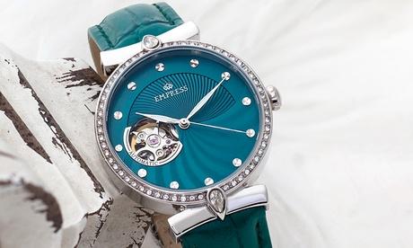 Reloj automático de cuero genuino con esfera de semiesqueleto Empress