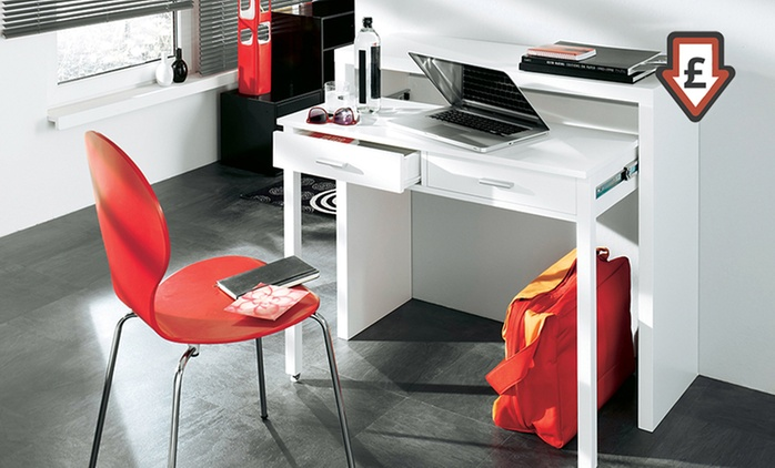 Two-Drawer Extendable Console Desk in White Gloss for £79.99 With Free Delivery (78% Off)
