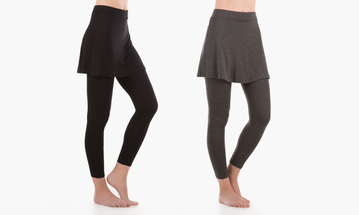 Women's Skirted Leggings in Regular and Plus Sizes (Sizes M/L & 2X ...