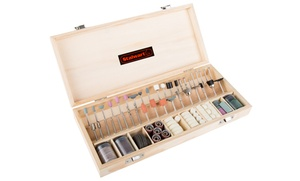 Stalwart Rotary Tool AccessoryKit in Wooden Case (228-Piece)