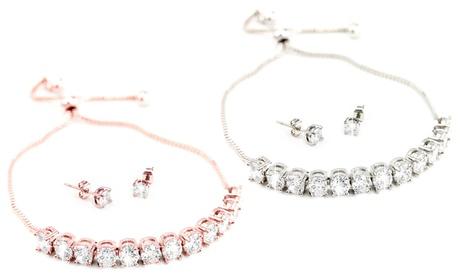1 o 2 sets de pulsera y pendientes Venus decorados con cristales