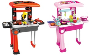 Toy Chef 2-in-1 Little Chef or Tool Time Pretend Play Travel Set