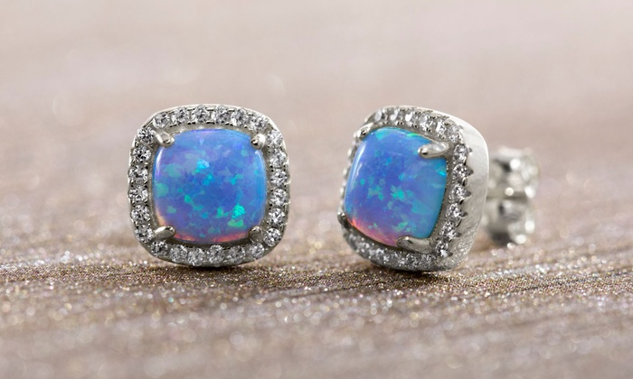 8eb71eeb1 Nina & Grace Blue Opal Square Studs in 14K Gold over Sterling Silver