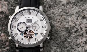 Heritor Automatic Edmond Semi-Skeleton Watch w/Leather Band