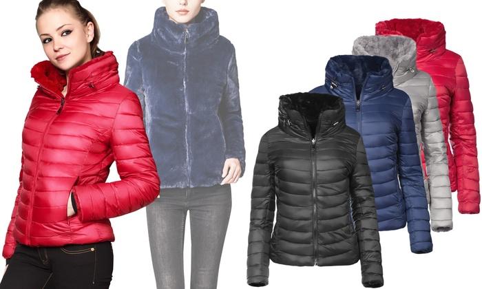 release date: 3923a 530dd Eco pelliccia o piumino reversibile Trisens | Groupon Goods