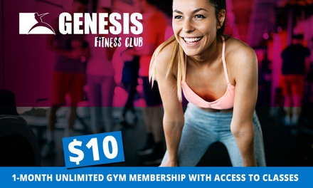 Four-Week Gym Membership with Classes Access for One ($10) or Two People ($15) at Genesis Fitness, Four Locations