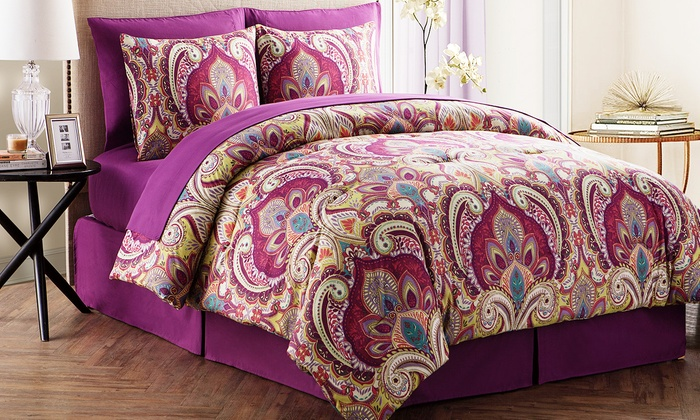 Alexa Printed Comforter Set including Sheets (6- or 8-Piece)