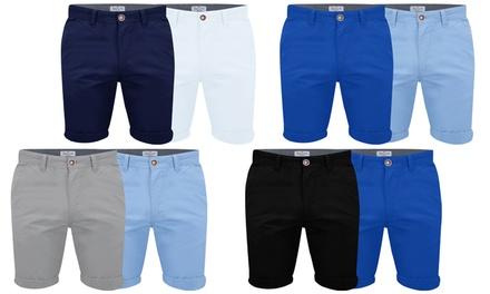 Pack de 2 shorts bermudas style Chino pour homme de la marque Stallion