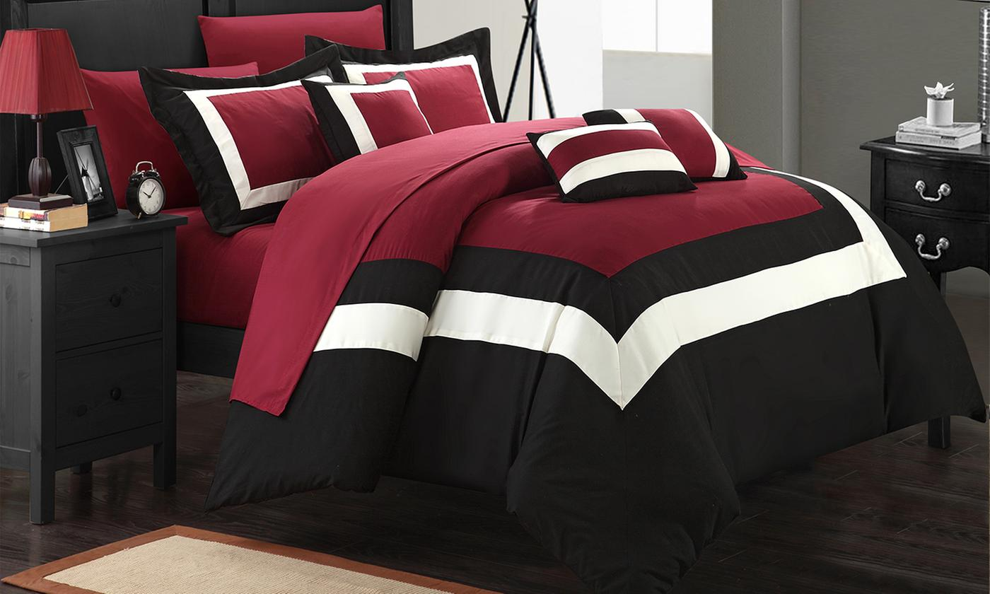 Colorblock or Reversible Geometric Pattern Bed in a Bag 10-Piece Comforter Sets