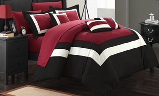 10-Pc. Colorblock or Reversible Bed in a Bag Comforter Sets