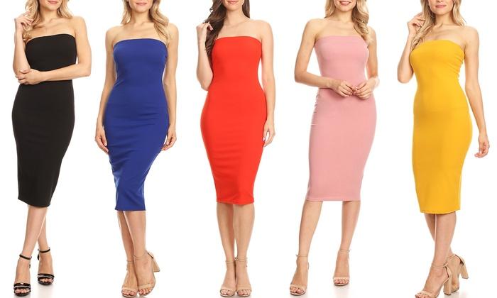 4890e4fec9 MOA Collection Women s Strapless Bodycon Dress. Plus Sizes Available.