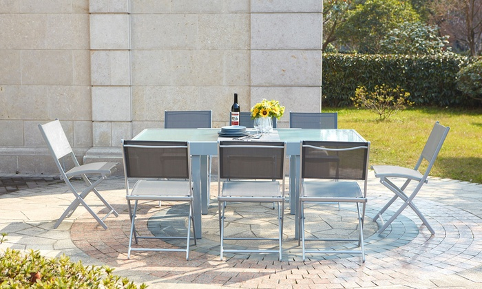 Salon de jardin Lycine alu/verre | Groupon Shopping