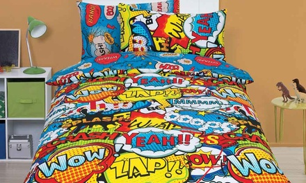 Comic Reversible Duvet Cover Set in Choice of Size and Colour