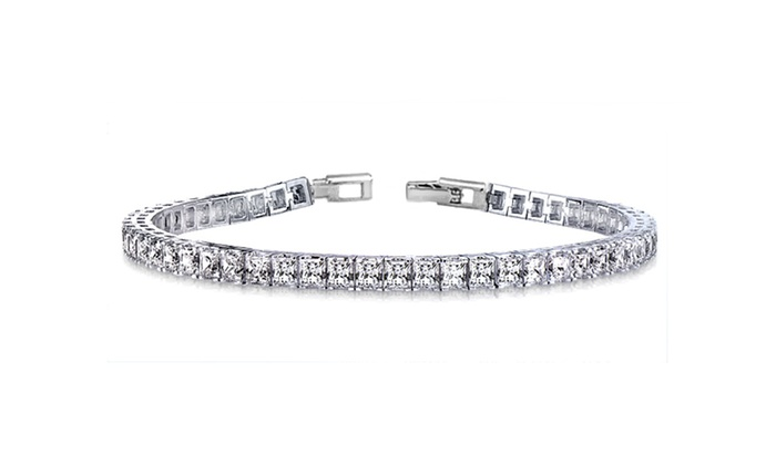 b11c7ee0851ccc Tennis Bracelet in 18K White Gold Plating Made with Swarovski Crystals