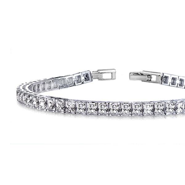 Princess Cut Tennis Bracelet in 18K White Gold Plating Made with Swarovski  Crystals