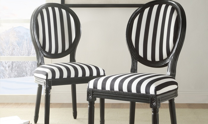 Genial Black And White Striped Chairs (Set Of 2) ...