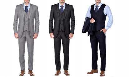 Groupon Fino Uomo Men S Slim Fit Suits 3 Piece