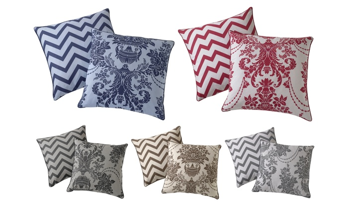 Damask Printed Reversible Chevron Cushion Cover