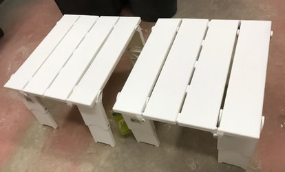 image for Pair of RE Portable Folding White Accent Plastic Tables at A1 Liquidation